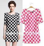 2014 hot !Spring and summer European and American style O neck pink and black dress Slim women dress free shipping