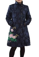 Free Shipping 2014 Women's Winter New Fashion Long Sleeve Single Breasted Long Desigual Coat, Print Embroidery Jackets