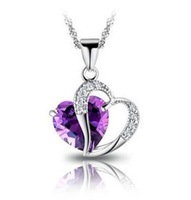 Fashion Accessories Love Heart Shaped Purple /Blue Rhinestone Crystal Sparkling Silver Plated Pendant Necklace Jewerly