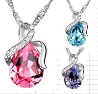 Lots 100pcs Spark  Rhinestone Crystal Teardrop Silver Plated Pendant Necklace Fashion Jewelry