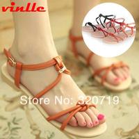 VINLLE 2014 fashion Women Sexy Summer Flat Sandals Casual Candy summer Flat sandals size 34-39