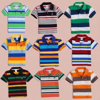Children's clothing summer child male child stripe  shirt child T-shirt short-sleeve shirt turn-down collar cotton 100%
