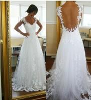 2014 fashion sexy racerback small train wedding dress custom lace flower bridal wedding dress free shipping