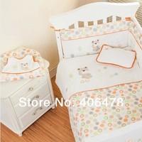 Super 7pcs Baby Crib Set New Arrival baby Bedding Sets cotton cartoon nice design of Orange Bear