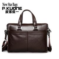 2014 crazy promotion P . kuone man commercial male handbag genuine leather shoulder men's casual bag leather briefcase bags PE2A