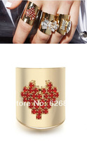 Free Shipping No Min order 2014 New Vintage Hollywood Pixel Heart Curve Ring Gold Tone Wide Cuff Fashion Ring Factory Prcie