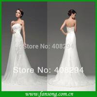 FS-1403131355 Popular Design ! 2014New Arrival Charming  Romantic Sexy  Mermaid Sweetheart Appliqued Wedding Dress