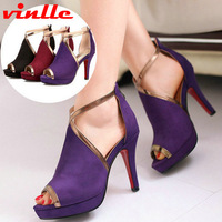 VINLLE 2014 new Ladies high heel shoes women sexy dress fashion pumps Party Wedding Shoes women Pumps size 34-39