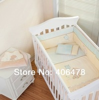 Super 7pcs Baby Crib Set Design of beige bear New Arrival baby Bedding Sets cotton cartoon
