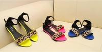 women beach leopard open toe sandals 2014 women flats summer flat sandals peep toes ladies' sandals Roman shoes free shipping