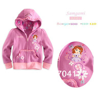 Retail Free Shipping New Arrival Children hoodies Fashion Sofia coat coats and jackets for girls outerwear Sweet bow outfits