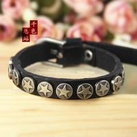 Cool Men Woman Metal Star Studs Beautiful Genuine Leather Bracelet Soft Braclets