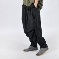 FREE SHIPPING Linen big ruffle loose trousers personalized wide leg pants spring and autumn casual pants