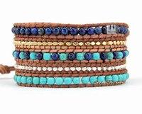 Exquisite Quality Turquoise Lapis Gold Beads Leather 5X Wrap Bracelet Turquoise Bracelet lapis lazuli bracelets