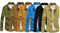 Corduroy pure color long sleeve shirts men's shirts,men's casual  slim sleeve  shirts