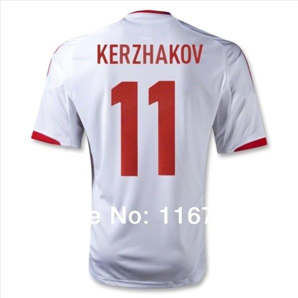 Cheap 2012/2014 Russia KERZHAKOV Away white Soccer Jersey Free Customized player version football shirt Training Suit(China (Mainland))