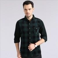2014 New Spring Casual men shirt Cotton long sleeve plaid high quality fabric shirts dark green Size: S-XXL