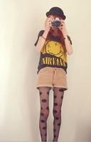 New 2014 Fashion Rock Nirvana Women Gold Smile Black Cotton T shirt Tops Tees KL057