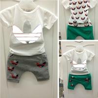 80-120,baby boys suit kids children 2 pc set short sleeve t shirt + pants casual girls set 0305 sylvia it