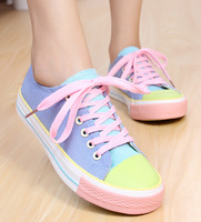 Candy color canvas shoes female color block decoration color block color block decoration shoes low-top casual shoes