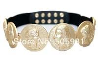 2014 Fashion  Baroque Style Retro Head Gold Coin Elastic Belt Waist Belt