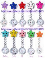 Unisex Five-pointed star smiling smile face Pocket Nurse Watch Quartz doctor metal watch 10 colors 100pcs/lot