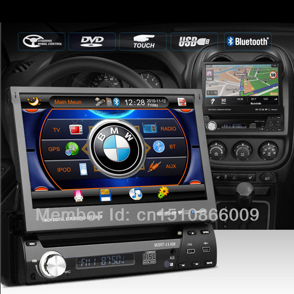 "7"" Single 1 DIN In Dash Car DVD VCD CD Radio Stereo Player Bluetooth GPS navigation Rear Camera ipod(China (Mainland))"