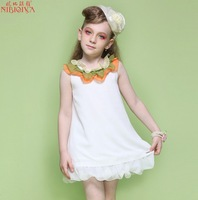 2014 New Arrive brand girl dress summer, children chiffon princess dresses, baby girls dress fashion white free shipping