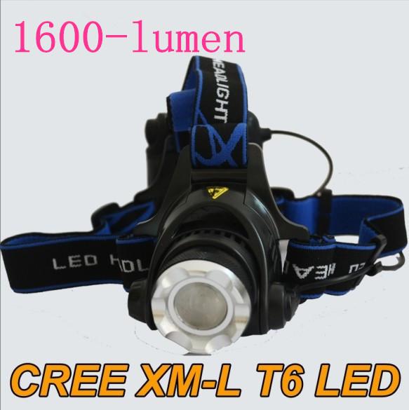 HeadLamp Light 1600lm High/Low Rechargeable Camp Fishing Strobe LED A6 Headlight Flashlight(China (Mainland))