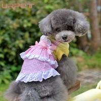 Spring and summer half-length skirt lace hem plaid dog clothes