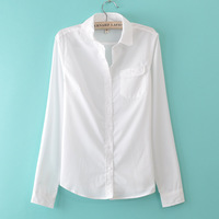 White brief t191 all-match three-dimensional cut turn-down collar long-sleeve shirt