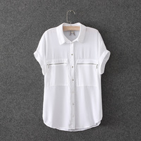 Women's spring fashion brief 2014 short-sleeve loose zipper pocket chiffon shirt