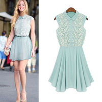 2014 New Fashion Summer Womens Lace Dresses Sleeveless Sweet Cute Crochet embroidery Dress for Women Free Shipping