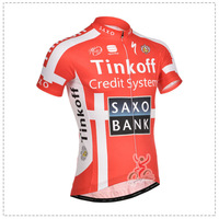 Free Shipping New 2014 Saxo Bank Team Men Jerseys Short Sleeve Cycling Jerseys Quick Dry Breathable Riding Bike Cycling Clothing