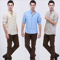 2014 New Spring Casual men shirt Linen long sleeve pure high quality fabric shirts white blue gray Size: S-XL