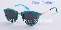 New design heart retro metal sunglasses for women Royal flower style gelitter sunglasses