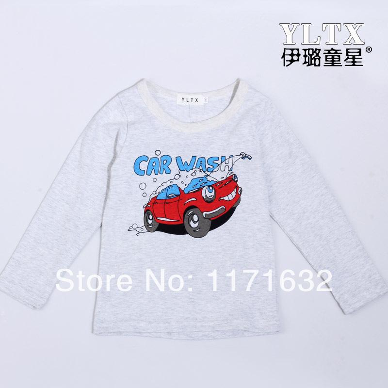New 2014 spring children t shirts , cotton long sleeve boys T-shirts, car wash pattern fashion round neck pullovers(China (Mainland))