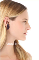 1 Pair Gorgeous Purple Crystal Gem Stone Flower Stud Earring Punk Runaway Blogger Celebs Style Wholesale Free Shipping Fashion