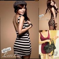 Free Shipping Sexy Lady Women Backless Over Hip Streak Leopard Print  Plunging Back dressSundress Mini Dress