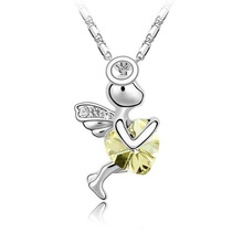 Free Shipping Platinum Plated Nickel Free Fairy Cupid Angels Heart Pendant Necklace Rhinestone Jewelry