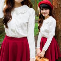 Spring white peter pan collar shirt female long-sleeve shirt small fresh 100% cotton basic shirt