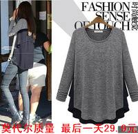 2014 spring and summer chiffon patchwork o-neck long-sleeve T-shirt basic shirt female top