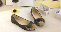 Free shipping2014 new Korean bow spell singles shoes Leopard stitching ladies fashion shoes low-heeled pumps tide