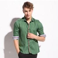 2014 New Spring Casual men shirt Linen long sleeve pure high quality fabric shirts khaki green gray Size: M-XXL