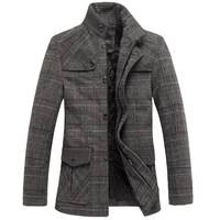 Mr . baidis autumn and winter woolen trench check wool woolen overcoat thermal trench