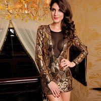 2014 New Women Sexy Dress Long Sleeve Mini Dresses Golden Shear Lace Snakeskin Emboss Party Pencil Dress HF2709 Free Shipping