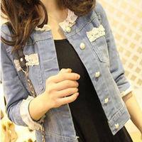 2014 Spring Jean Jackets empty thread beading lace three quarter sleeve slim short jacket design Fashion women's denim outerwear