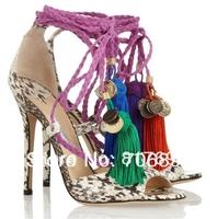 Free shipping Olivia Dream Ankle Rop Tie Elaphe Sandals 2014 platform python pumps women dress shoe