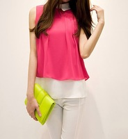 2014 summer new doll collar loose chiffon shirt female Korean plus size SMLXL chiffon shirt