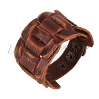 Adjustable Men's Retro Genuine Cow Leather Bracelet Cuff Bangle Wristband